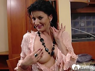 Sensational mommy teases while working at the office
