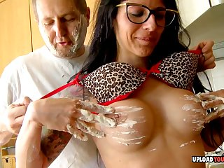 Naughty with glasses gets slammed in hard core fashion