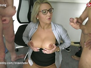 Threesome with college teacher to relieve exam stress