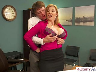 Sara Jay is a well known blond dame with massive udders who enjoys hump at work