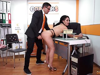 Long haired slutty secretary Evita Love sucks her bosses cock at work