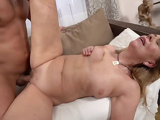 A hot complain granny is getting fucked by a horny younh man