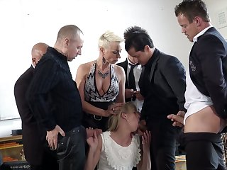 Tall Dutch bitch Jentina Small is fucked by several well endowed studs