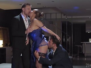 Wild nicely shaped cock rider Blue Angel works on two strong cocks at once