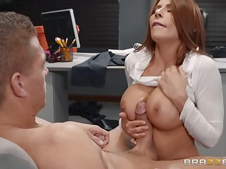 Busty brunette whore Madison Ivy creamed at an office