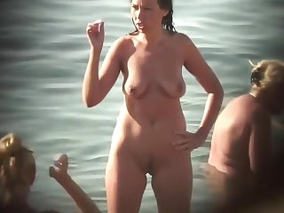 Just real nude MILFs at beach - voyeur