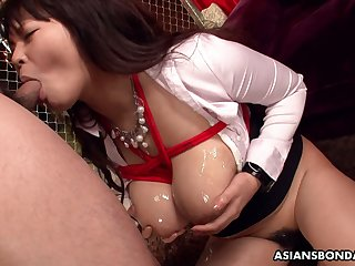 Ample breasted Japanese milf Airi Ai is tied up and fucked by two dudes