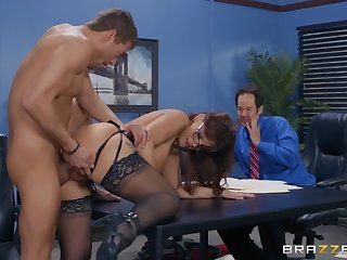 Milf fucked in the office in front of a coworker