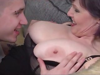 Lucky youngster with thick cock loves mature women