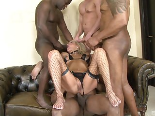 Blonde in lingerie Cathy gets facials in an interracial MMF threesome
