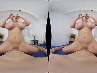Busty blonde Alura Prowling Cougar shagging in POV VR movie