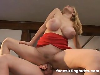 Big Boobs Blonde Porn Star Lynn Lemay rides dick and her melons jumping