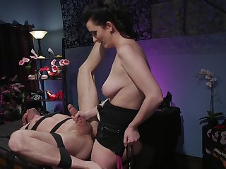 Busty milf acts dominant with her obedient male partner