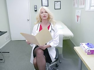 Horny nurse London River adores to masturbate in her hospital office