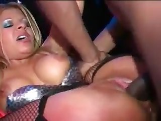 A blonde gets her well-fucked pussy sprayed with cum by big black cock