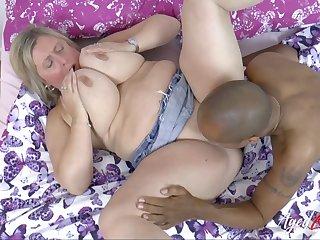 Buxom Blond Hair Lady Milf Interracial Bj