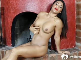 Amazing babe with long hair loves to masturbate