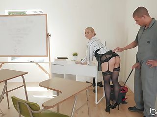 After a long day Sarah Vandella is ready for hard fuck in the classroom