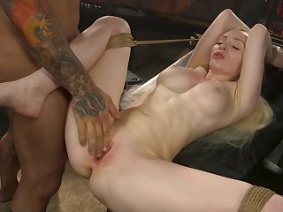 Deep pussy bondage sex for the obedient blonde whore
