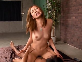Gorgeous Japanese mom Mio Kuraki enjoys threesome sex