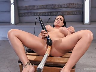 Fucking machine extreme orgasms for the big ass wife