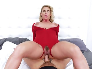 Blonde mature tastes sperm after putting a lot of dick inside her