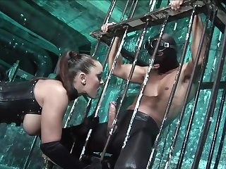 Wild busty whore in latex corset Jamie Barry rides dick for great anal