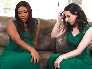 Interracial lesbian sex on the sofa - Casey Calvert & Chanell Heart