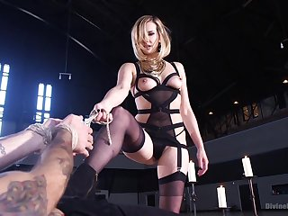 Rough female domination on the obedient male slave