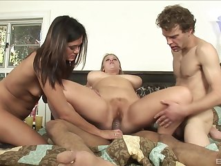 White dude watches as a black stud fucks Sierra Skye and Cece Stone