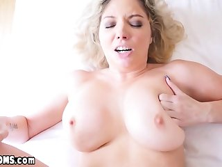 Son licks and fucks chubby MILF stepmoms inked pussy
