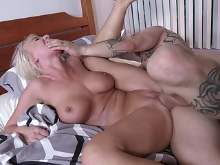 MILF lands younger man's hungry dong to ruin her greedy cunt