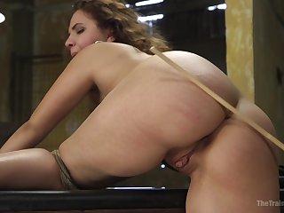 Expert rope bondage keeps Callie Klein in place during BDSM fucking