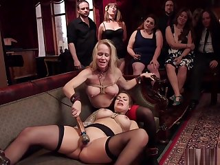 Slaves are gagged and fucked in party