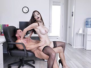 Amazing office lady, insane hard sex with the generous boss