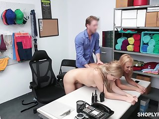 Loss prevention officer punishes Nikki Peach and Honey Blossom