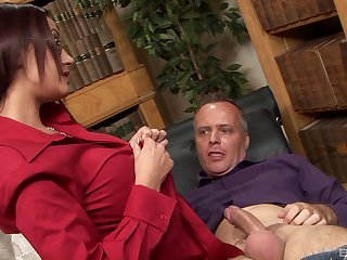 Brunette wife Emma Butt with glasses fucked by a horny neighbor