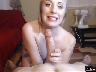 Charming Blonde Mom Wraps Her Sweet Lips Around Cock
