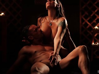 Sensual ball and dick licking makes him hard for sex with Simony