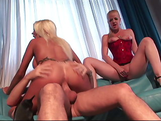 Two Mature Hot MILF Moms Empty the Balls and Share the Cum