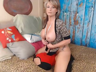 Wild blond huge knockers mom hard waking off and dildo riding