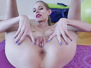 Blonde Skinny Wife Pleases Herself On Yoga Mat