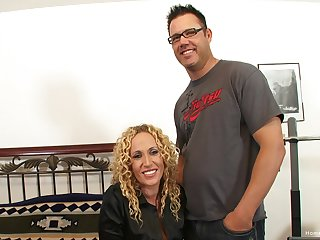 Beautiful naturally busty blonde milf and her boyfriend are ready to become pornstars!