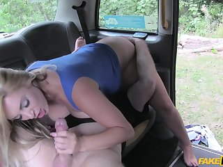 Energized woman gets laid on the back seat