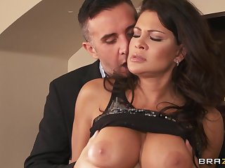 Provocative wife Teri Weigel fucked by her husband in his office