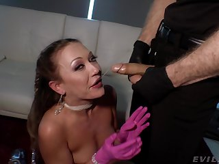 Dirty slut Adira Allure plays with her pussy and gets fucked
