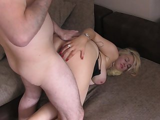 Doggy sex for the thick ass mom with huge jugs