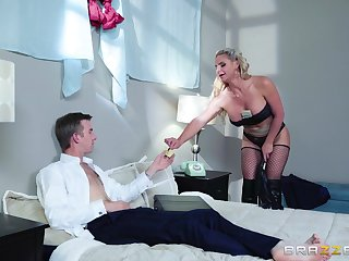 Blonde cougar ass fucked after playing dominant in bed