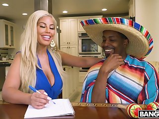 Wild interracial shag on the bed with busty blonde Bridgette B