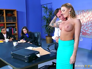 In an office environment, Juelz Ventura lets her slutty side out to play
